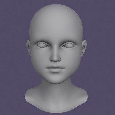 polygonal head little girl 3d model