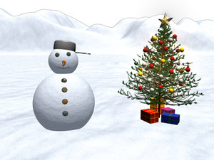 3d ma realistic snowman snow