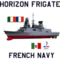 italy horizon class frigates 3d model