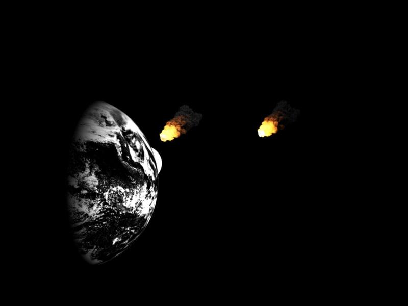 3d asteroids striking earth
