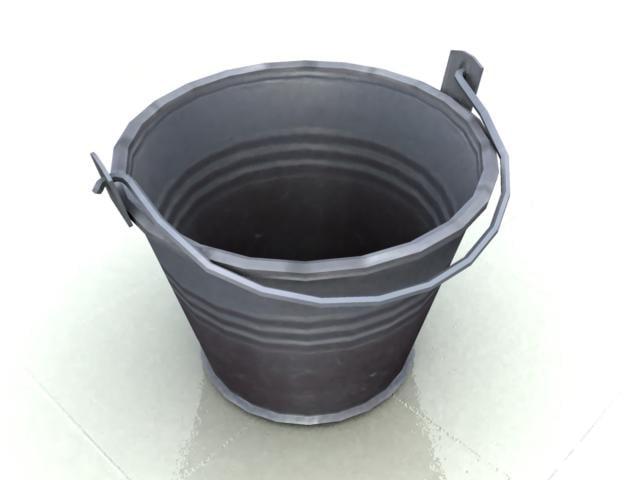 bucket metal real 3d model