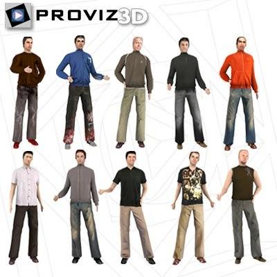 3d people casual men model