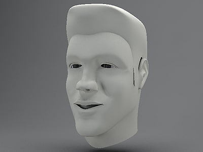 male human head elongated 3d max
