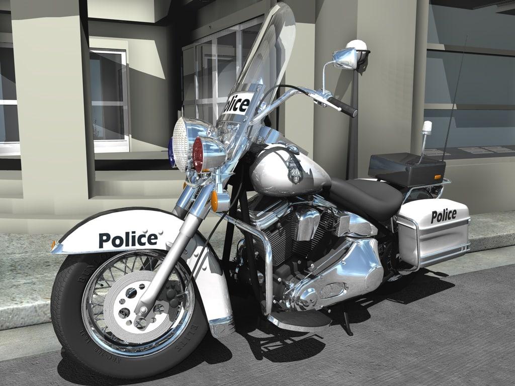 3d model harley davidson police motorcycle