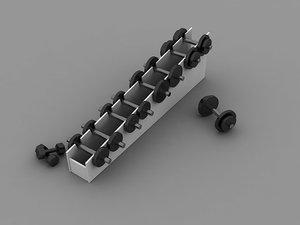 3d set dumbbells weights exercise equipment model