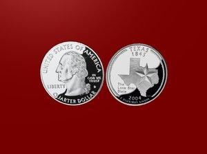3d model texas state quarter