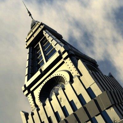 lightwave futuristic skyscraper