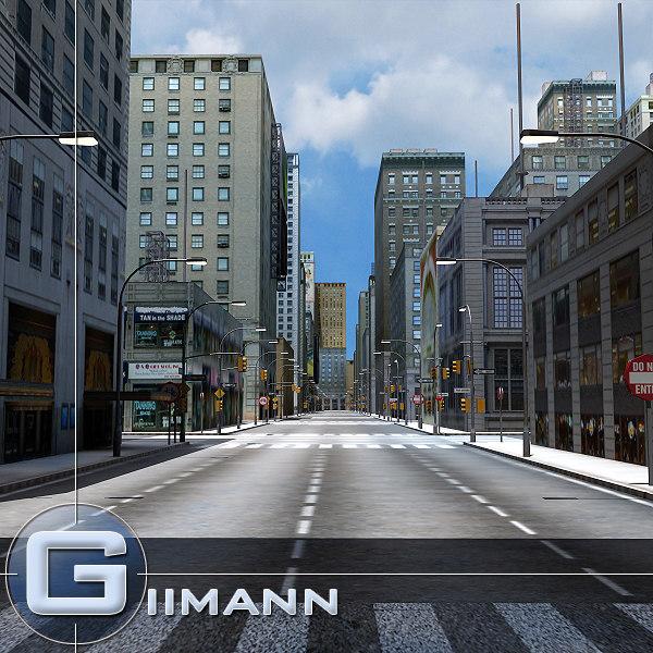 city road street building 3d model