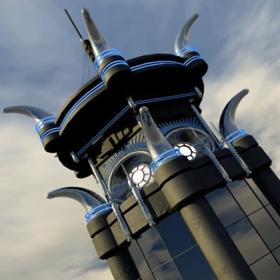 obj futuristic building