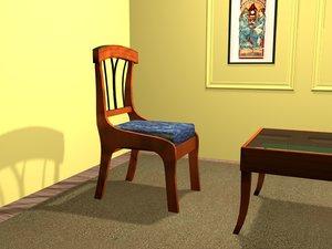 3d biedermeier chair