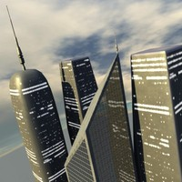 futuristic skyscrapers buildings 3d model