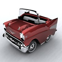 cartoon 57 chevrolet car 3d model