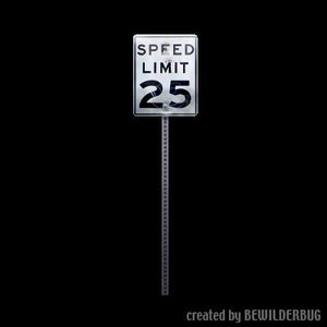 free 3ds mode road sign 25mph bw