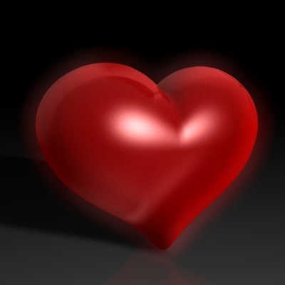 sub-d glowing heart 3d 3ds