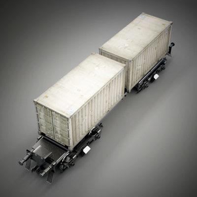 3d model cargo wagon car