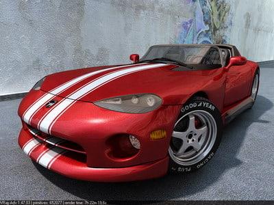 res dodge viper sports cars 3d max