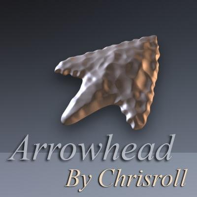 3d prehistoric arrowhead model