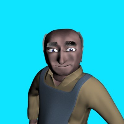3d character old man