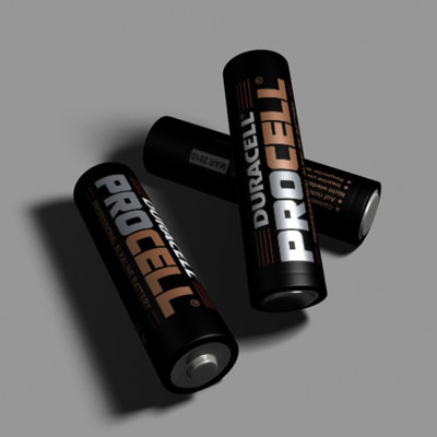 3d model duracell procell aa battery