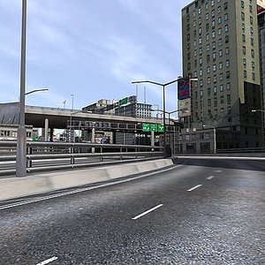 day time city road 3d max