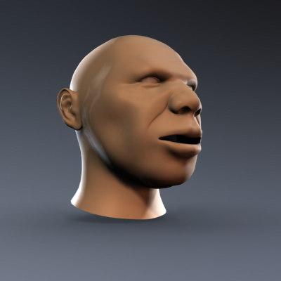 obj male face head
