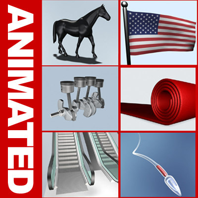 horse walking escalator flag 3d model