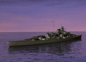 battleship bismarck 3d max