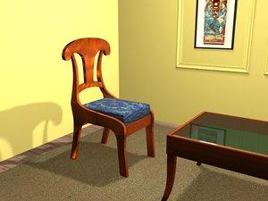 biedermeier chair 3d 3ds