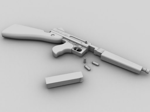 thompson m1a1 gun 3d model