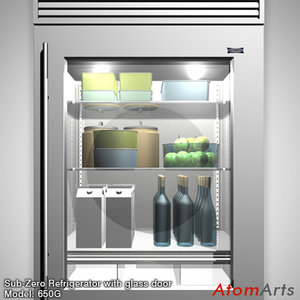 refrigerator glass door sub-zero 3d model