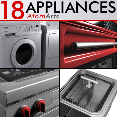 appliances oven grill refrigerator 3d model