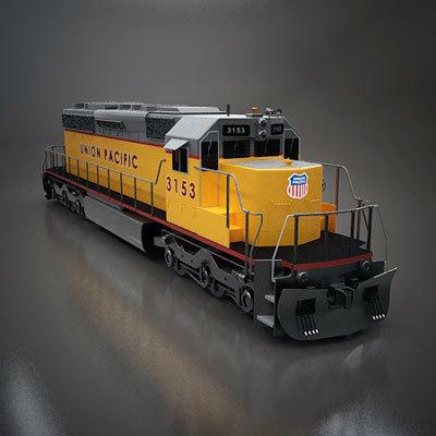 3dsmax sd40 locomotive