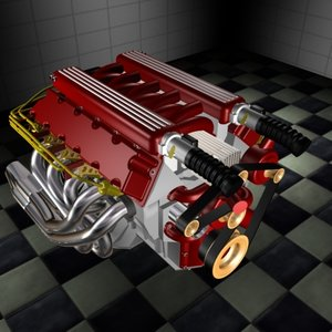 3d dodge viper v10 v8 engine