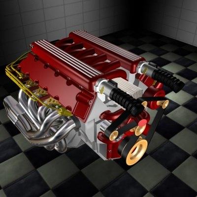 3d dodge viper v10 v8 engine
