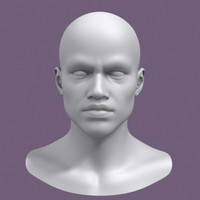 realistic african male head 3d model
