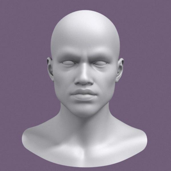 realistic african male head 3d model