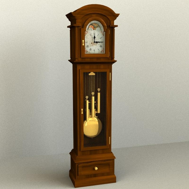 grandfather clock 3d model