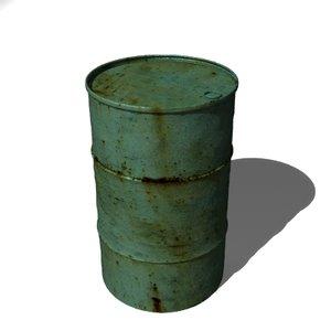 rusty old oil drum 3d model