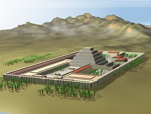 3d imhotep sakkara pyramid complex model