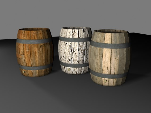 3ds wooden barrels
