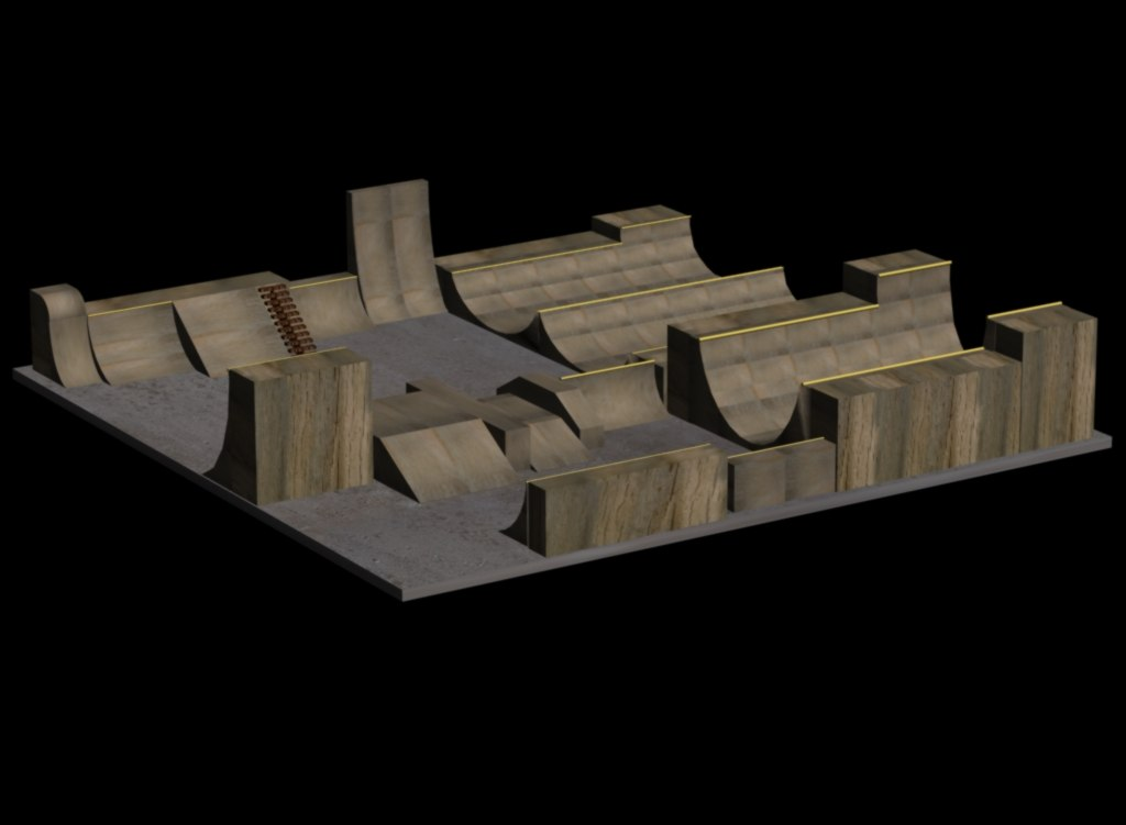 skatepark halfpipes 3d 3ds