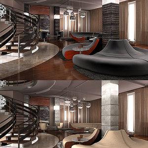 penthouse living room 3d model