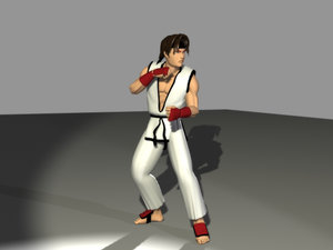 anime karate fighter 3d model