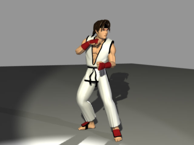 anime karate fighter 3d model
