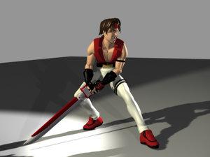 3d anime sword fighter model