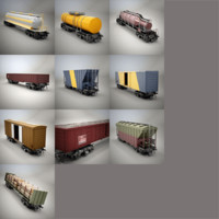 railroad cars gondola 3d model