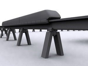 transrapid electric train track 3d model