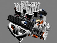 3d model of fuel-injected chevrolet engine