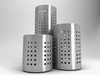 BRUSHED METAL COOKING UTENSIL HOLDERS SET