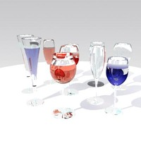 3d glass glassware model